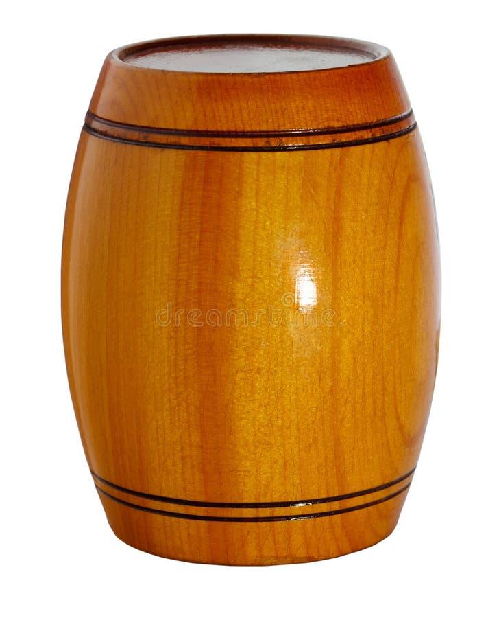 cask Trälackad trumma på vit bakgrund royaltyfri bild