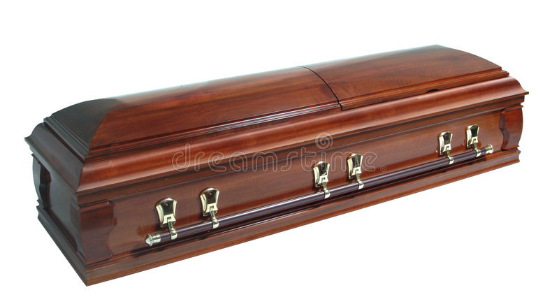 Casket. Brown casket isolated on white royalty free stock image