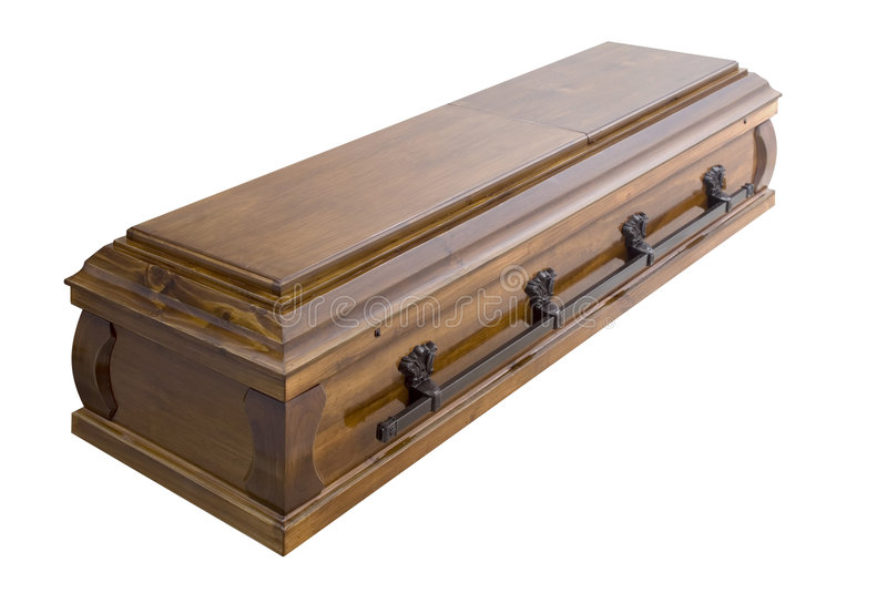 Casket. Brown casket isolated on white stock image
