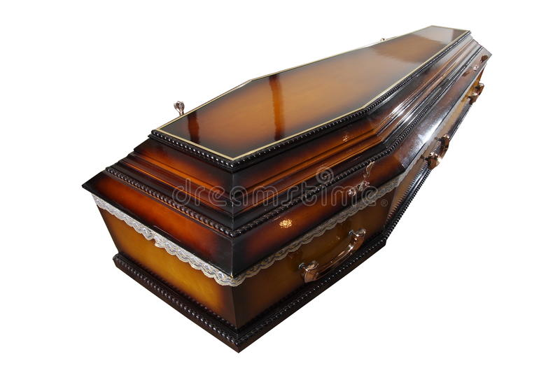 Casket. Wooden casket isolated on white background stock photography