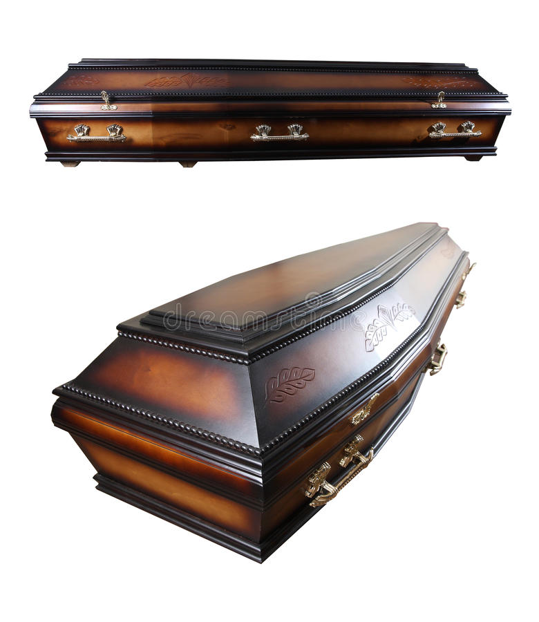 Casket. Wooden casket isolated on white background stock image