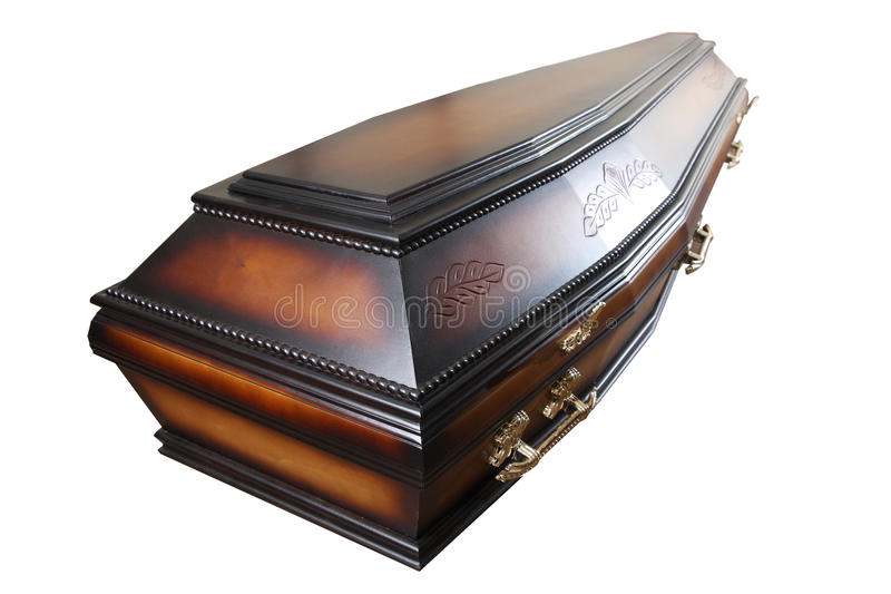 Casket. Wooden casket isolated on white background stock images