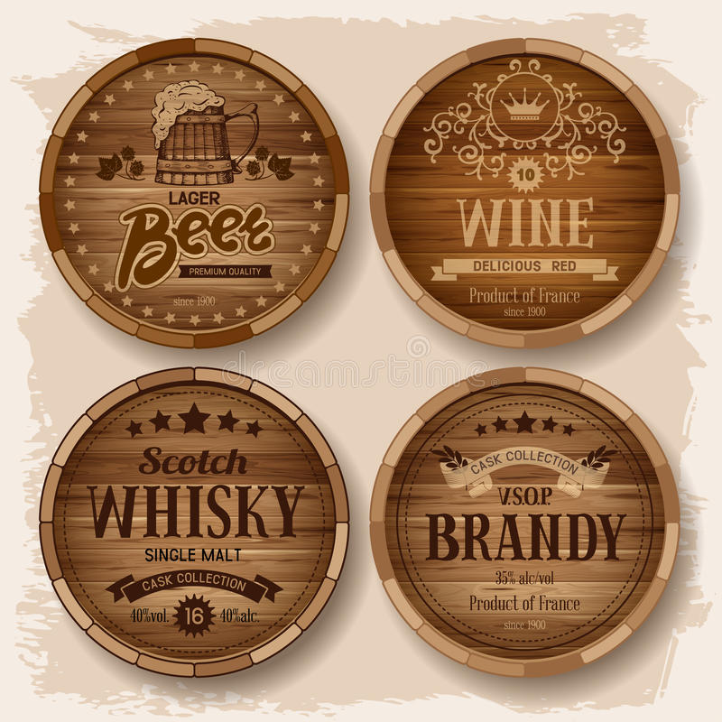 Casks with alcohol drinks vector illustration
