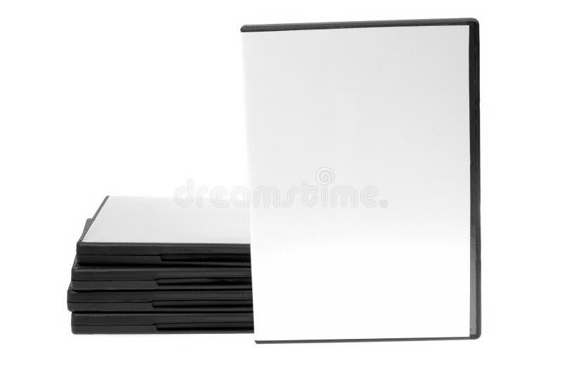 Caso in bianco DVD/CD e disco su priorità bassa bianca fotografie stock libere da diritti