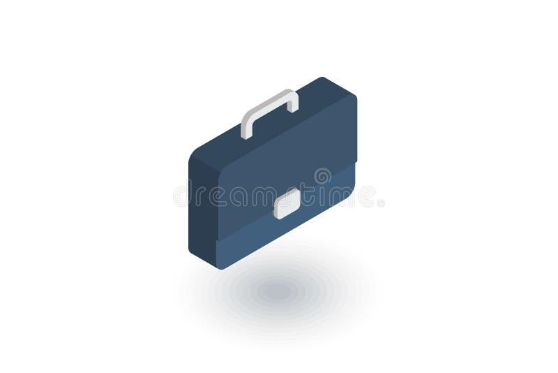 Caso, cartera, símbolo de la carrera, icono plano isométrico de la cartera vector 3d ilustración del vector