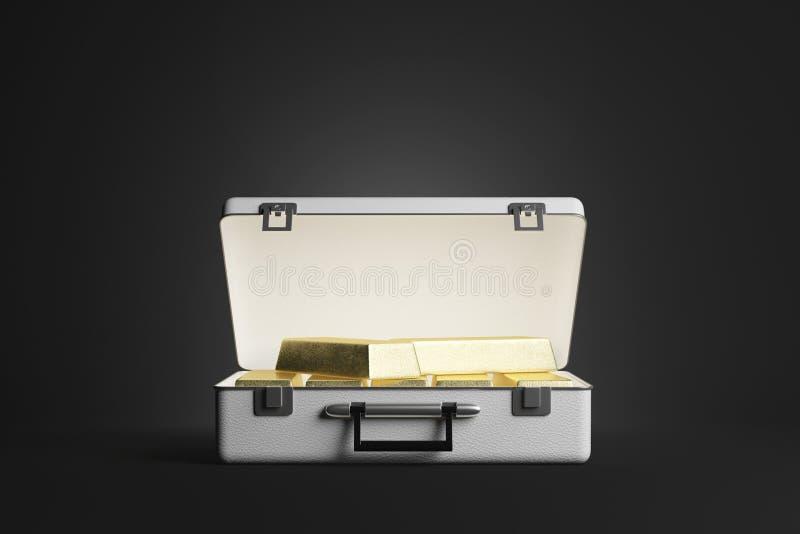 Caso com barras de ouro ilustração stock