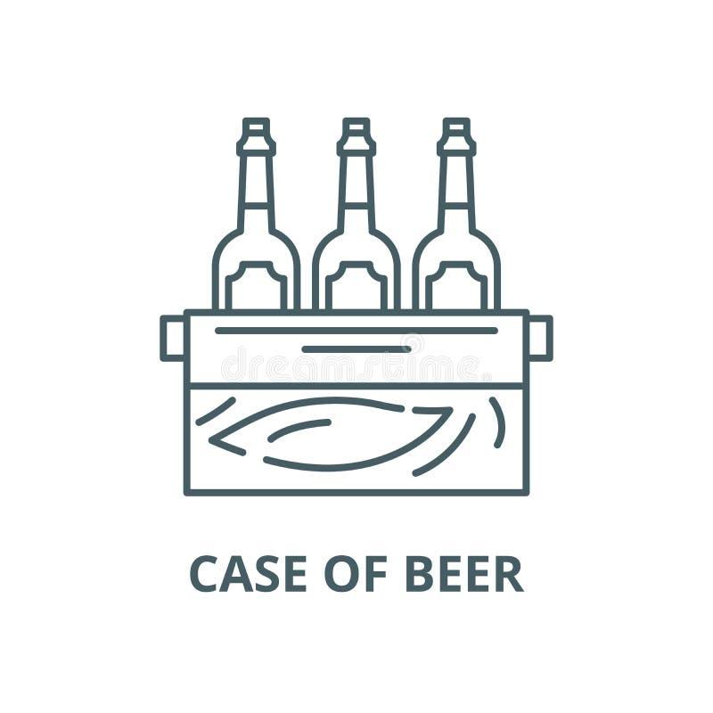 Caso da linha ícone do vetor da cerveja, conceito linear, sinal do esboço, símbolo ilustração royalty free