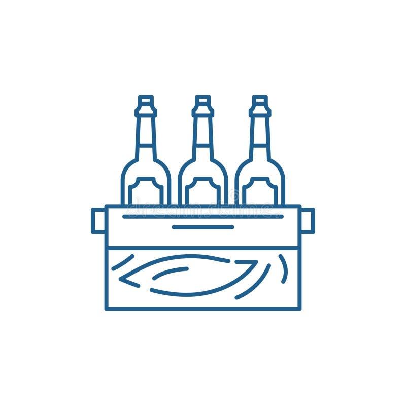 Caso da linha conceito da cerveja do ícone Caso do símbolo liso do vetor da cerveja, sinal, ilustração do esboço ilustração royalty free