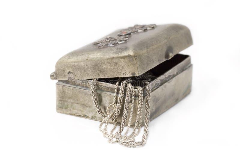 Caso de Cupronickel con los encadenamientos de plata aislados imagen de archivo