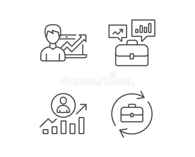 Caso de la cartera, resultados de negocio e iconos de la hora libre illustration