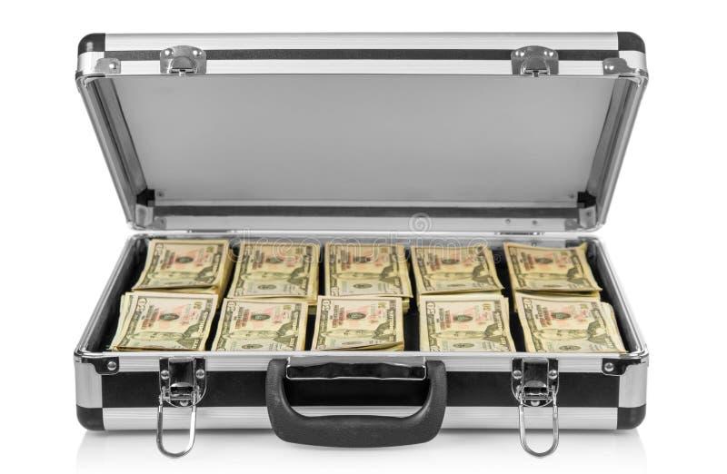 Caso de plata con el dinero imágenes de archivo libres de regalías