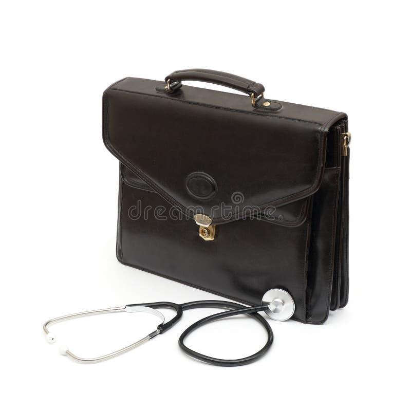 Caso dei medici con lo stetoscopio immagine stock