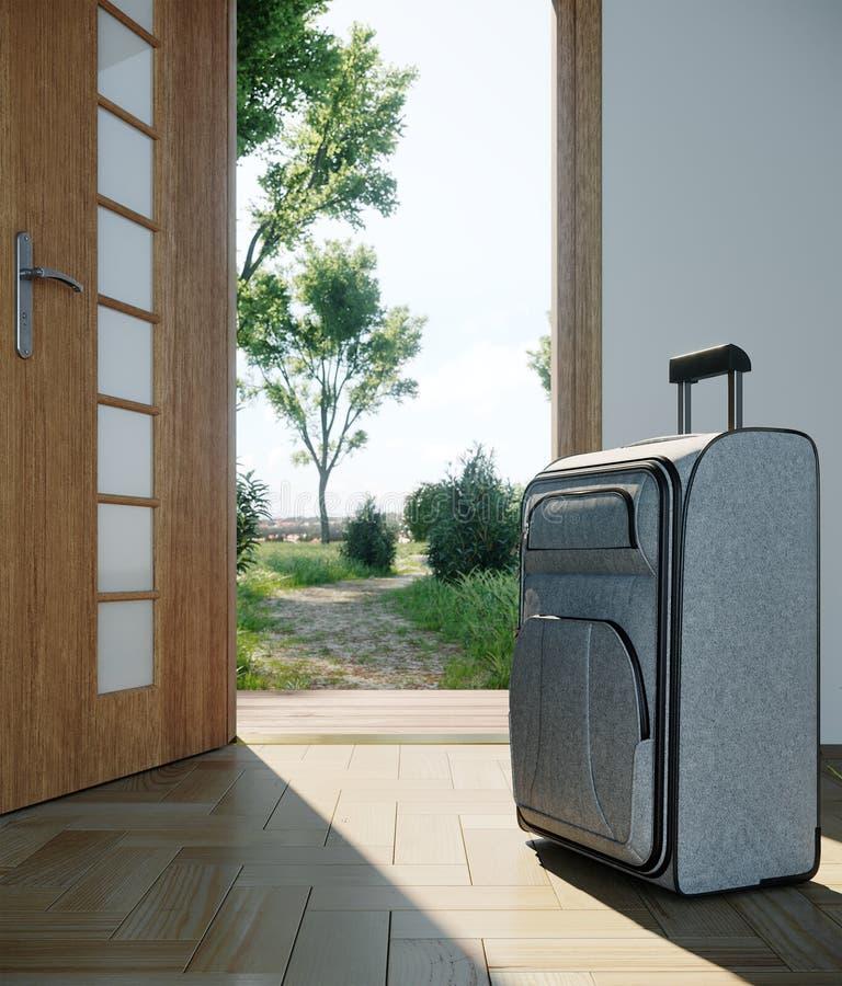 caso di viaggio con il concetto di vacanza di viaggio della porta aperta fotografia stock