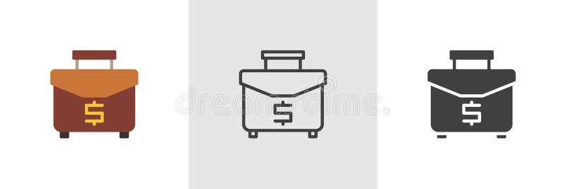 Caso do negócio com ícone do dólar ilustração do vetor