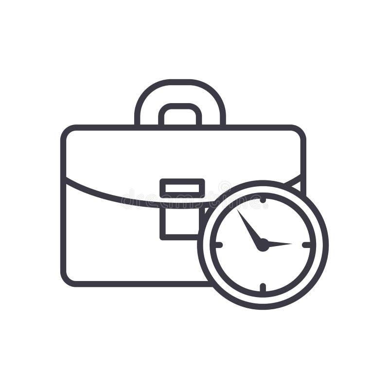 Caso do negócio com linha ícone do vetor do tempo, sinal, ilustração no fundo, cursos editáveis ilustração do vetor