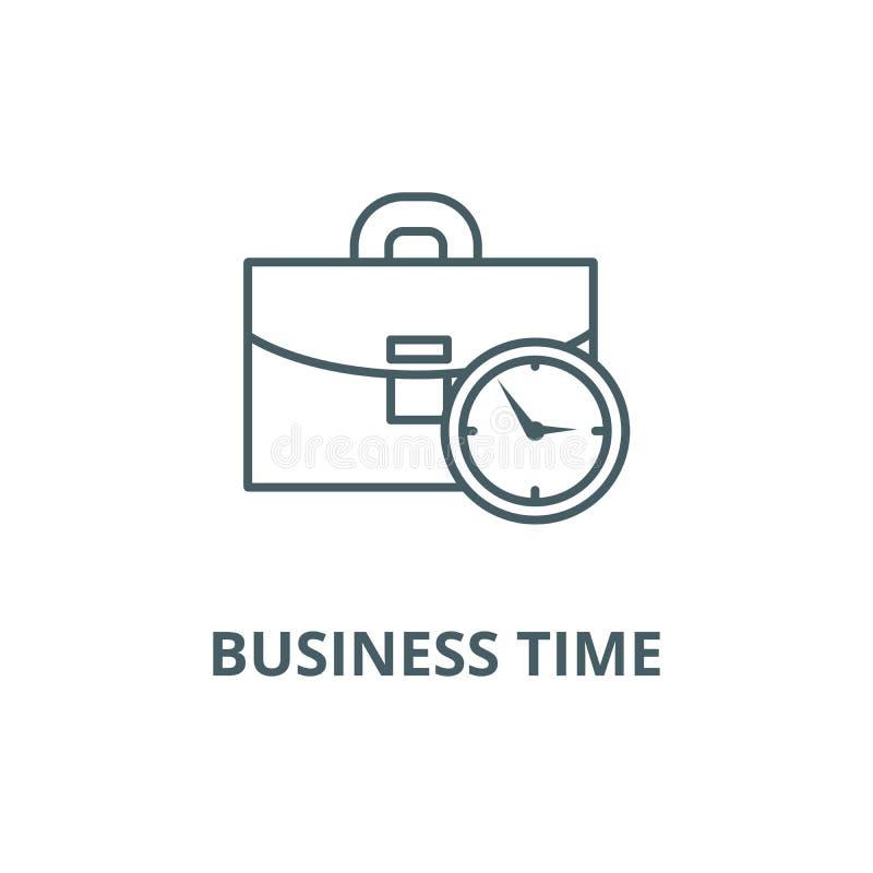 Caso do negócio com linha de tempo ícone, vetor Caso do negócio com sinal do esboço do tempo, símbolo do conceito, ilustraç ilustração stock