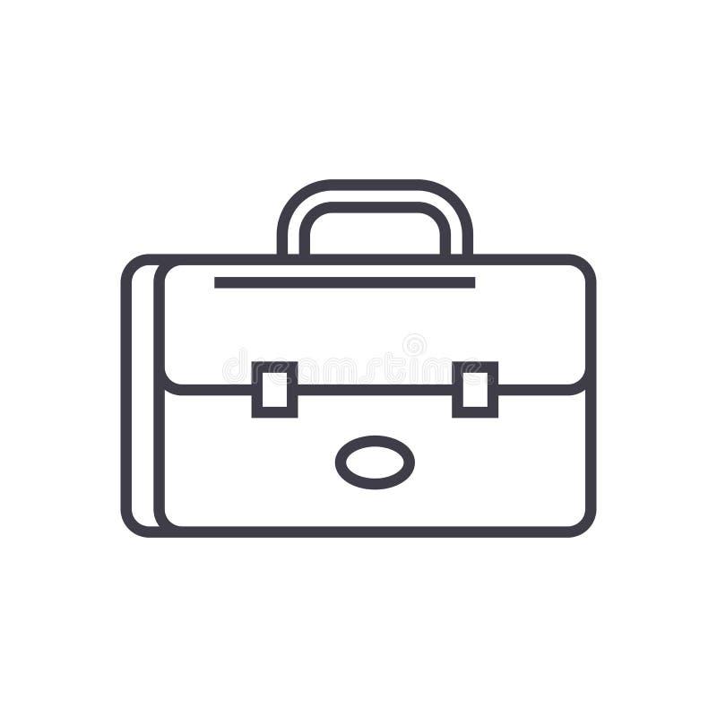 Caso do negócio, linha ícone do vetor do portfólio, sinal, ilustração no fundo, cursos editáveis ilustração stock