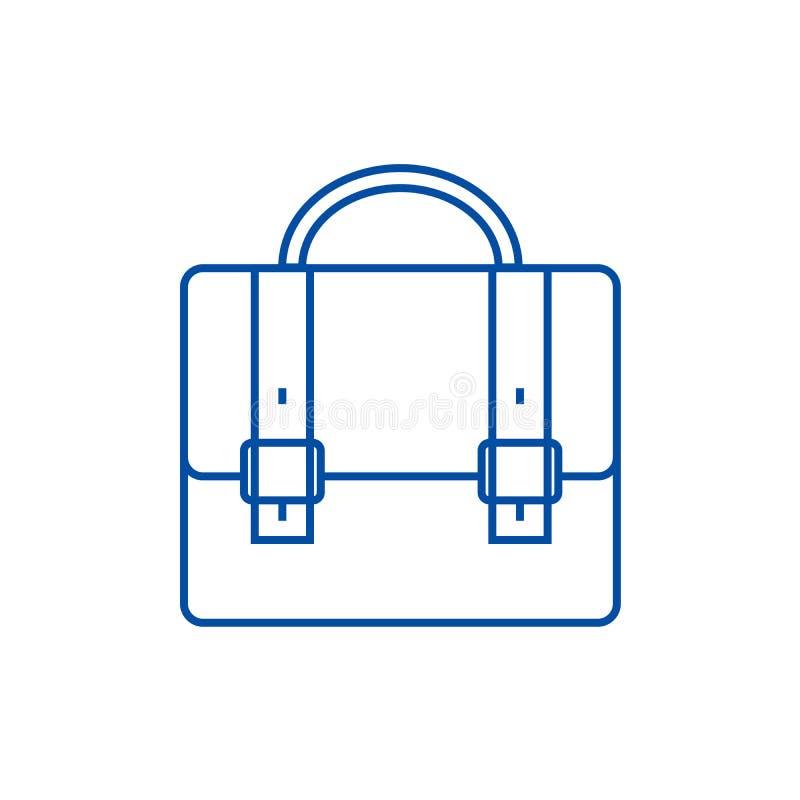 Caso do negócio, linha conceito do portfólio do ícone Caso do negócio, símbolo liso do vetor do portfólio, sinal, ilustração do e ilustração royalty free