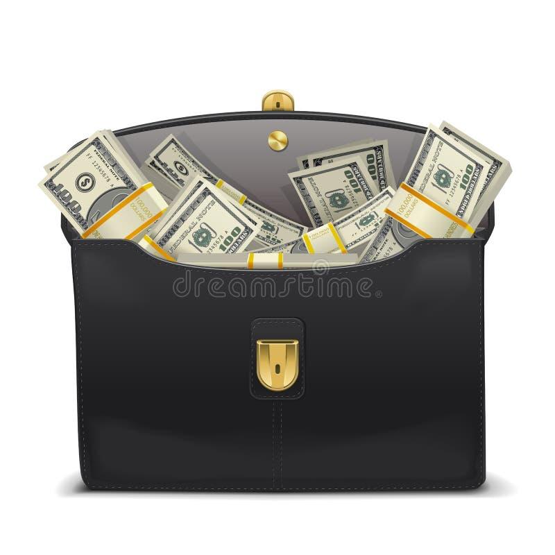 Caso do vetor com dinheiro ilustração stock
