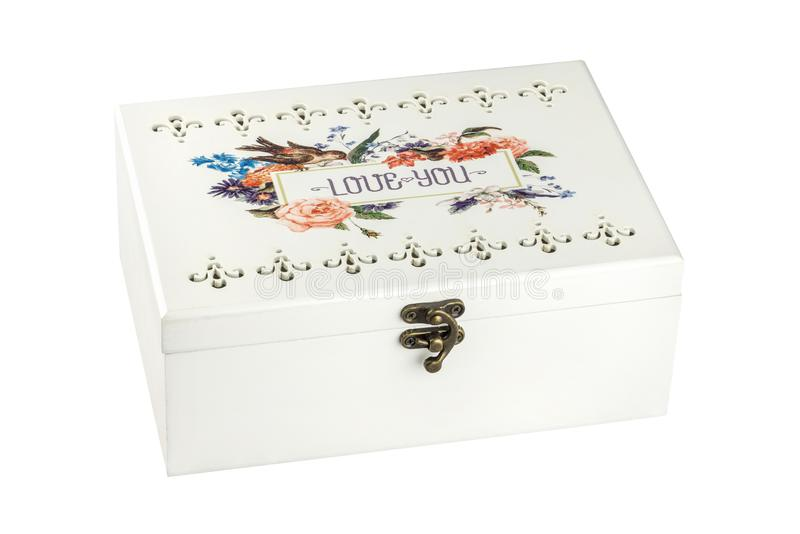 Caso o caja de madera del vintage para la joyería con el diseño floral, de gran tamaño, aislado en el fondo blanco Trayectoria de fotos de archivo libres de regalías