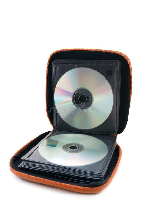 Caso portatile di CD/DVD su priorità bassa bianca immagine stock libera da diritti