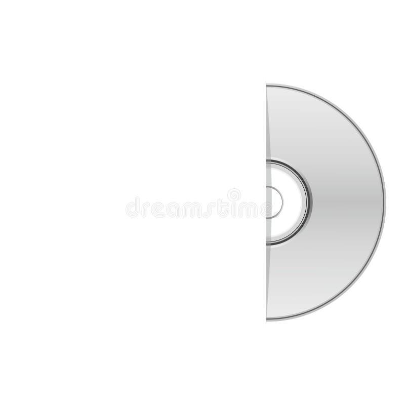 Caso vazio do dvd, metade de um CD ilustração stock