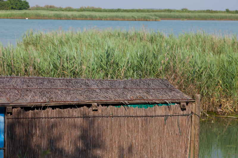 Casoni (fishing huts) in Caorle royalty free stock images