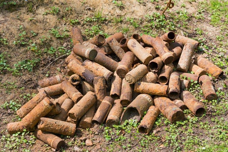 Casos de escudo de oxidação de WWI foto de stock