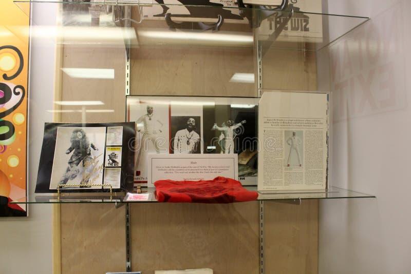Casos de vidro longos que guardam artigos do mágico de Oz, todo o museu da onça das coisas, Chittenango, New York, 2018 imagem de stock royalty free