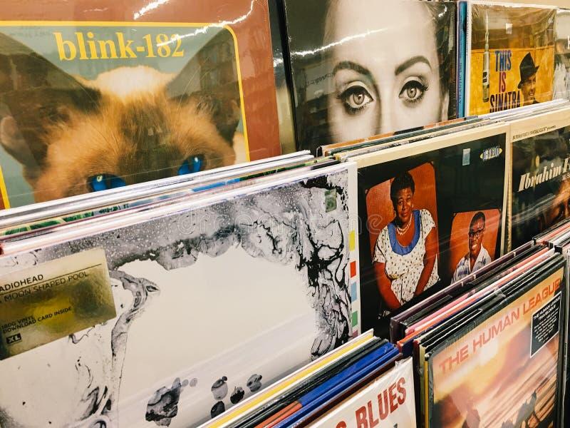 Casos do registro de vinil de faixas famosas da música para a venda em Music Store imagens de stock royalty free