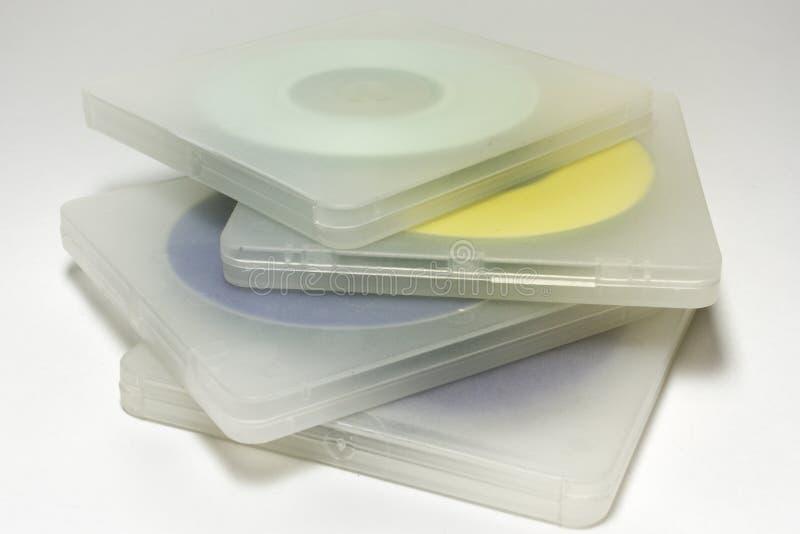 Casos translúcidos com discos Pilha de MIDI-discos coloridos mim imagem de stock royalty free