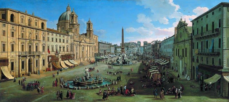 Caspar Adriaansz camionete Wittel - praça Navona, Roma, 1699 imagens de stock royalty free