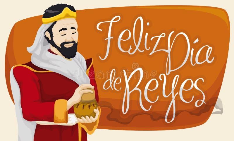 Caspar Magi com incenso que comemora o esmagamento ou a Dia de Reyes, ilustração do vetor ilustração royalty free