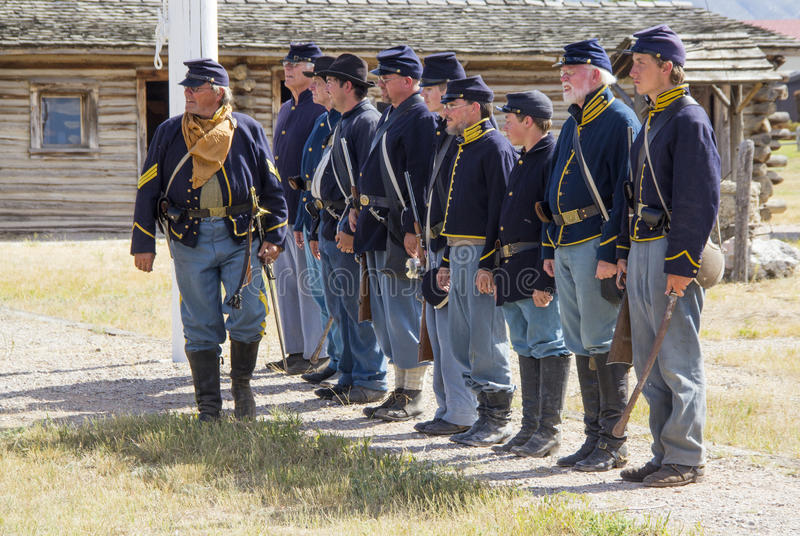 CASPER, WY__CIRCA JULY 2015__Soldiers and indians reenactment in Casper, Wy. circa July 2015 stock photo
