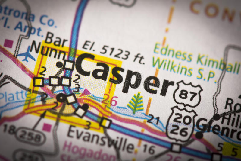 Casper, Wyoming on map. Closeup of Casper, Wyoming on a road map of the United States royalty free stock photos