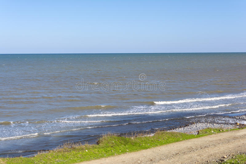 Sea coast. Summer landscape Sea, shore, surf stock photo
