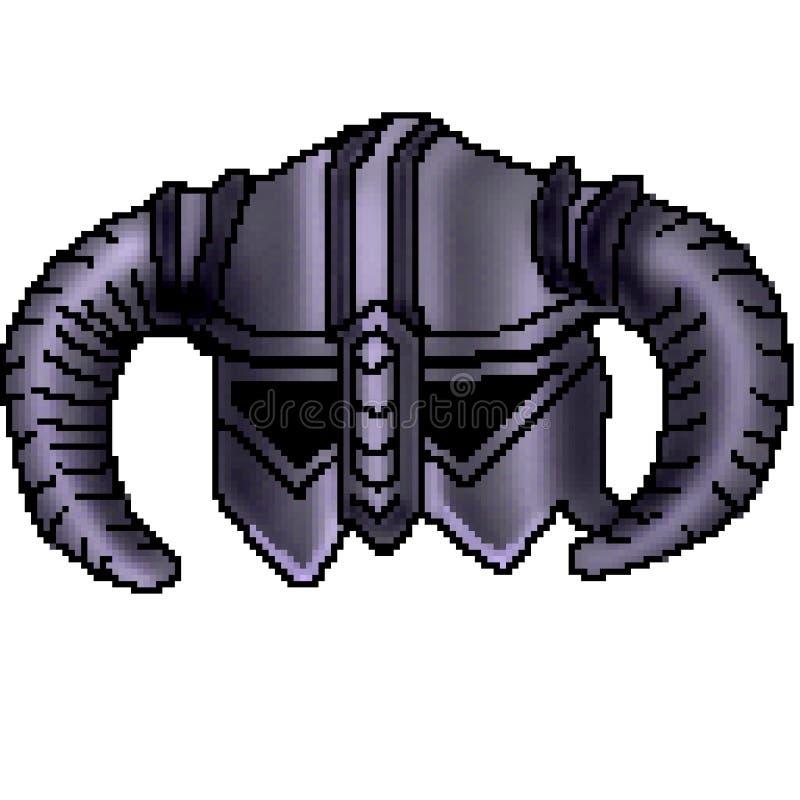 Casque à cornes tiré de Viking de bit du pixel 8 illustration stock