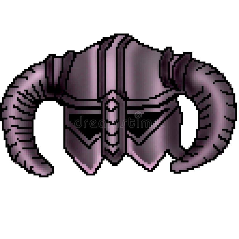 Casque à cornes tiré de Viking de bit du pixel 8 illustration libre de droits