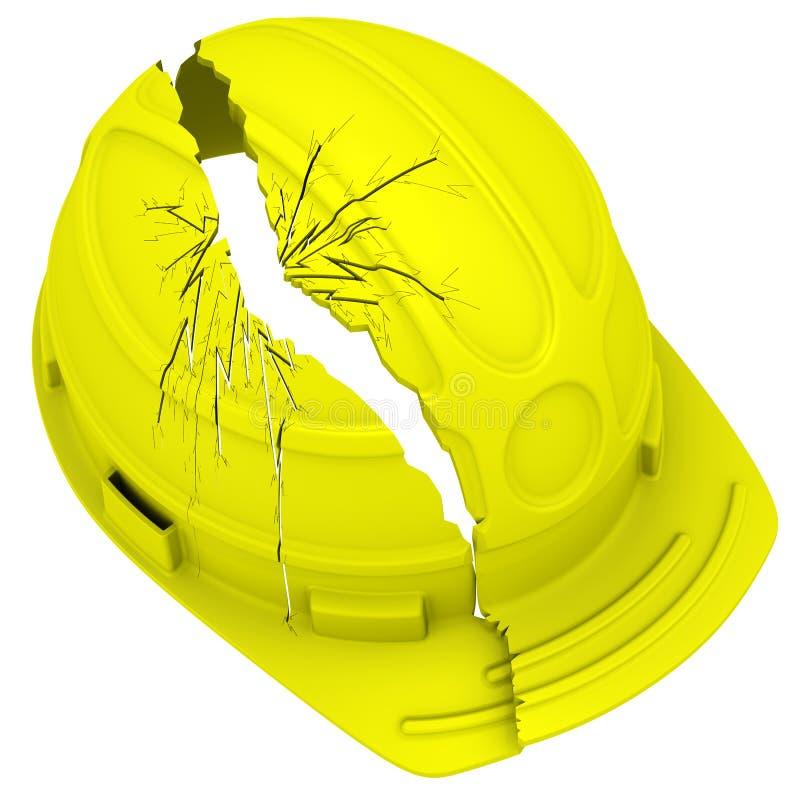 Casque antichoc cassé jaune D'isolement illustration stock