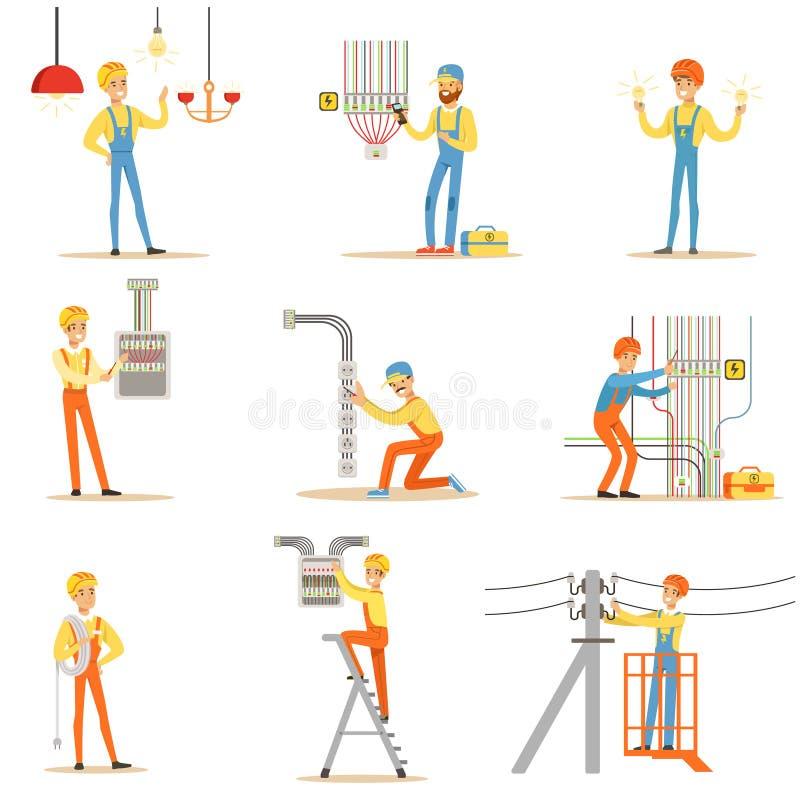 Casque antichoc d'In Uniform And d'électricien fonctionnant avec les câbles électriques et les fils illustration stock