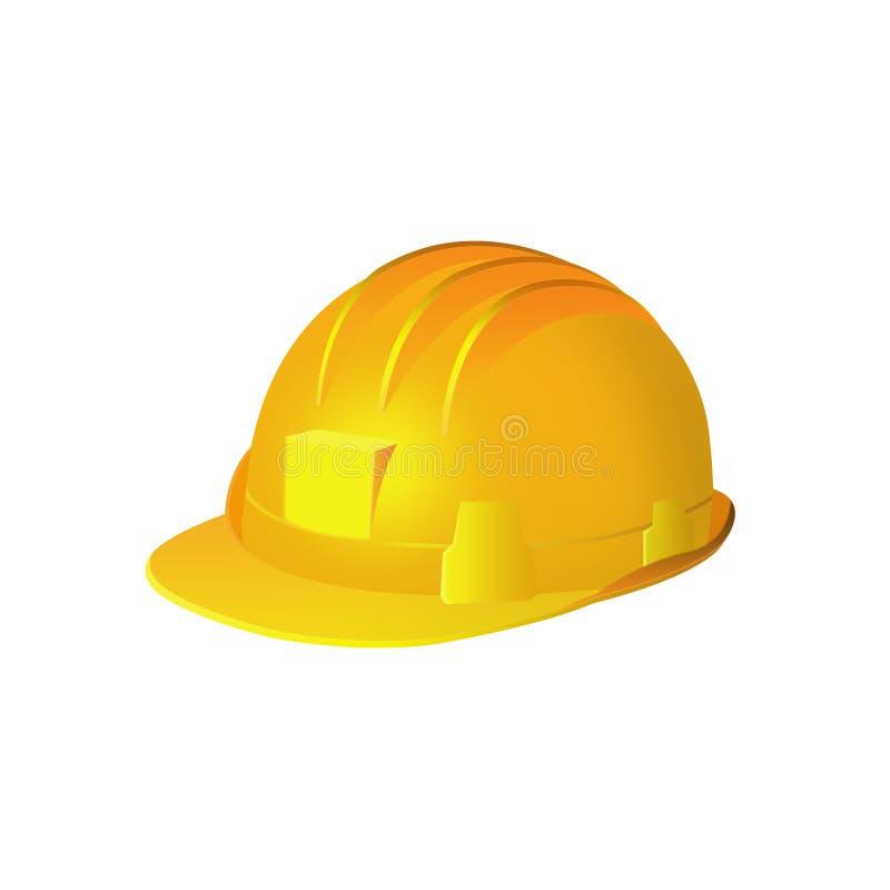 Casque antichoc de sécurité jaune sur le fond blanc illustration de vecteur