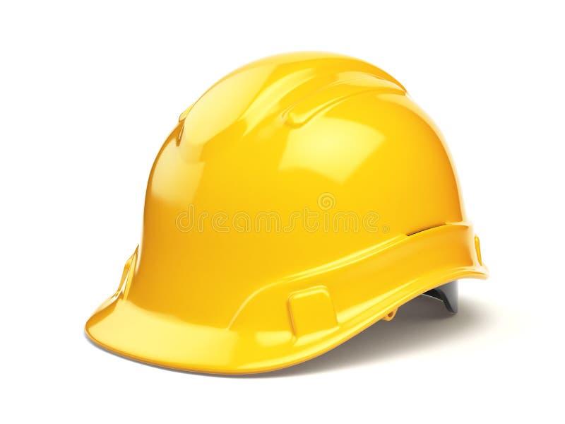 Casque antichoc jaune, casque de sécurité sur le blanc illustration libre de droits