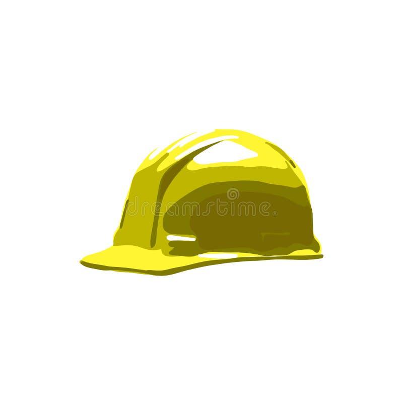Casque antichoc jaune de casque de sécurité d'isolement sur le fond blanc illustration libre de droits