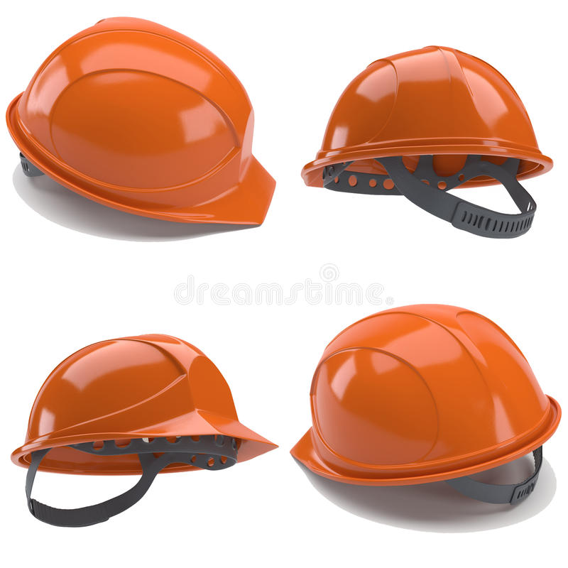 Casque antichoc orange 3d illustration stock