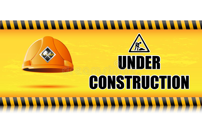 Casque antichoc sur le panneau en construction illustration stock