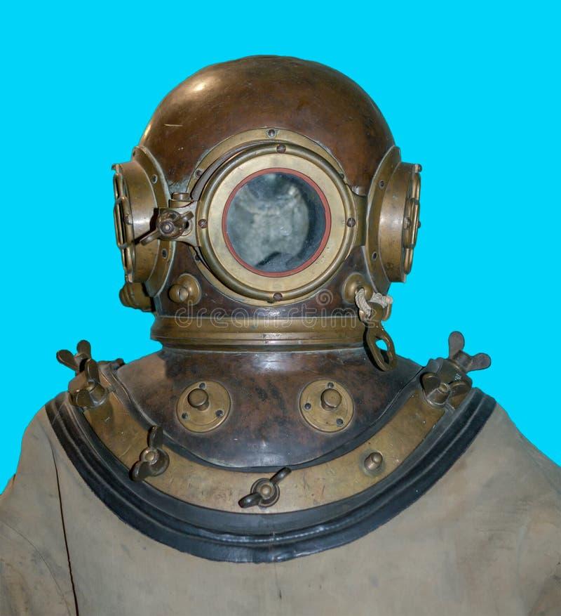 Casque antique de costume de plongée photographie stock libre de droits