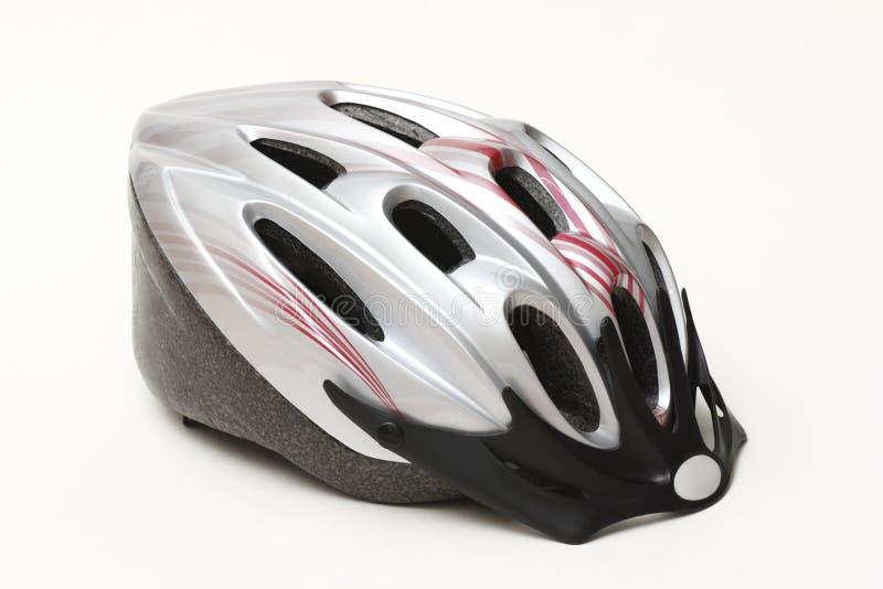 Casque argenté de vélo image stock