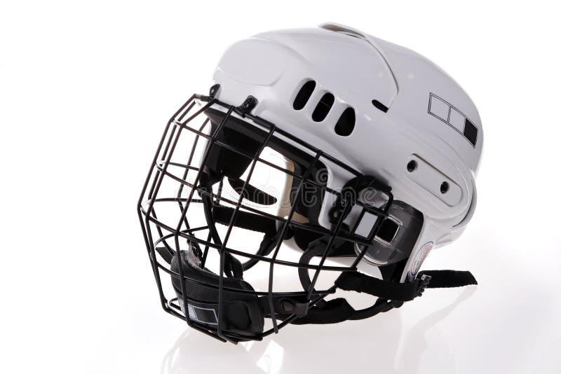 Casque blanc d'isolement d'hockey images libres de droits