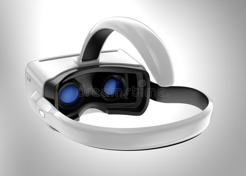 Casque blanc de VR d'isolement sur le fond gris photo libre de droits