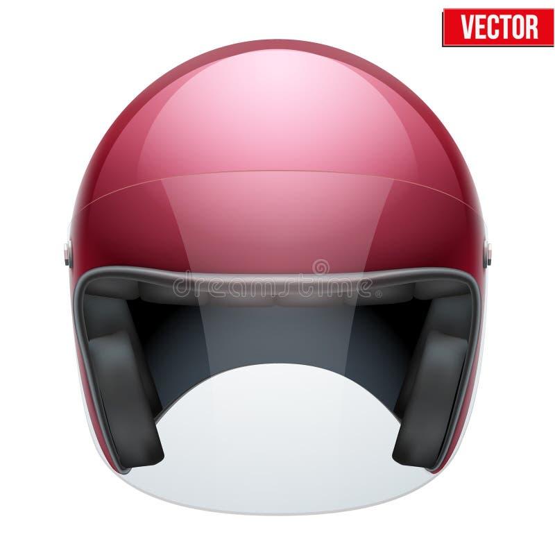 Casque classique de motocyclette rouge avec le verre clair illustration stock